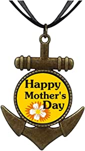 Chicforest Bronze Retro Style Happy Mother's Day Anchor Pendant