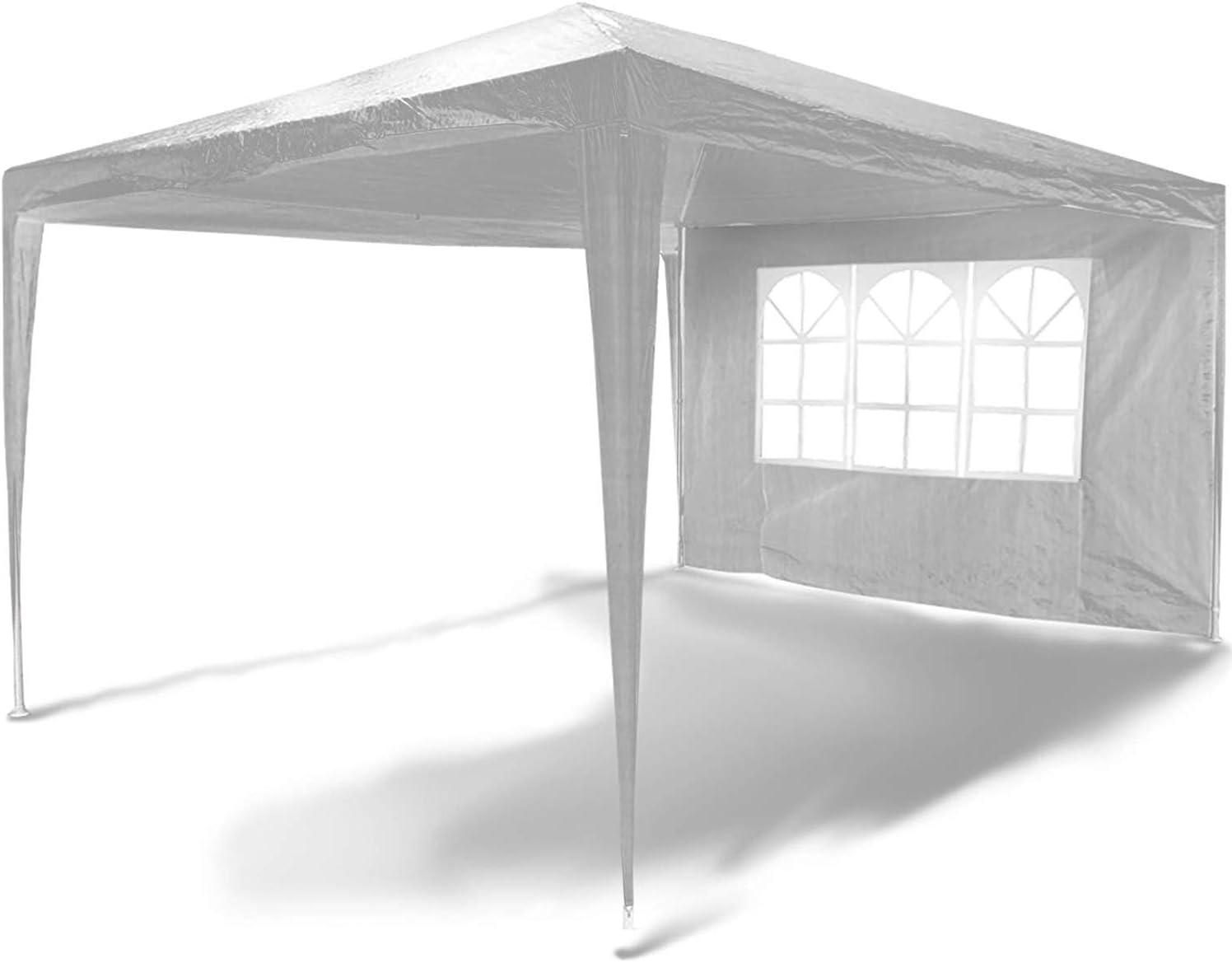Impermeabile Nova Gazebo da Giardino 3x4m Padiglione 4 Panelli Laterali Rimovibili Bianco Protezione UV30+ Tenda per Esterno Tendone per Feste