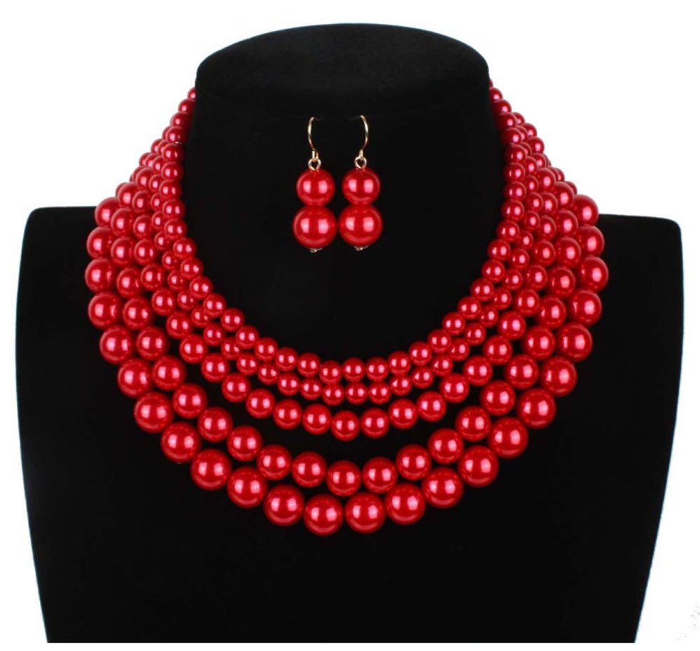 Shineland Elegant 5 Layer Strand Faux Pearl Cluster Collar Bib Choker Necklace And Earrings Suit Made in china