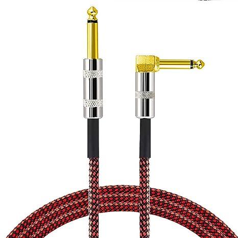 LoongGate Premium Nylon Trenzado Cable de Guitarra, 1/4 Pulgadas (6,35