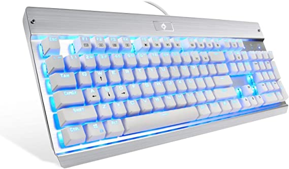Eagletec KG011 Mechanical Keyboard Clicky Blue Switch Equivalent Wired Ergonomic Office Keyboard