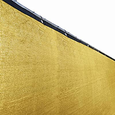 ALEKO 6 x 50 Feet Fence Privacy Screen Outdoor Backyard Fencing Privacy Windscreen Shade Cover Mesh Fabric With Grommets, Sand Color