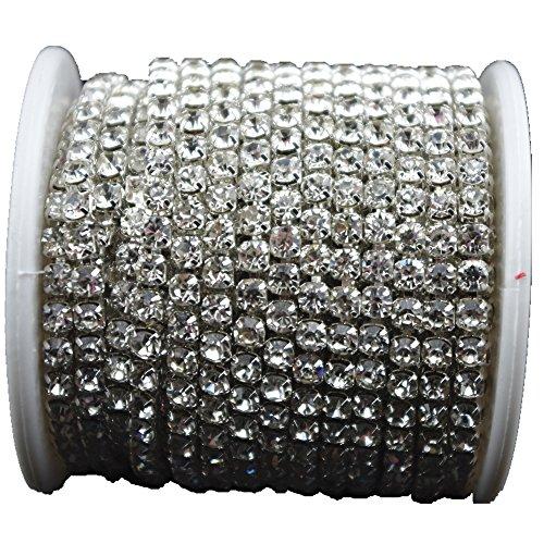 (10 Yard Crystal Rhinestone Close Chain Clear Trim Sewing Craft Silver color (4mm))