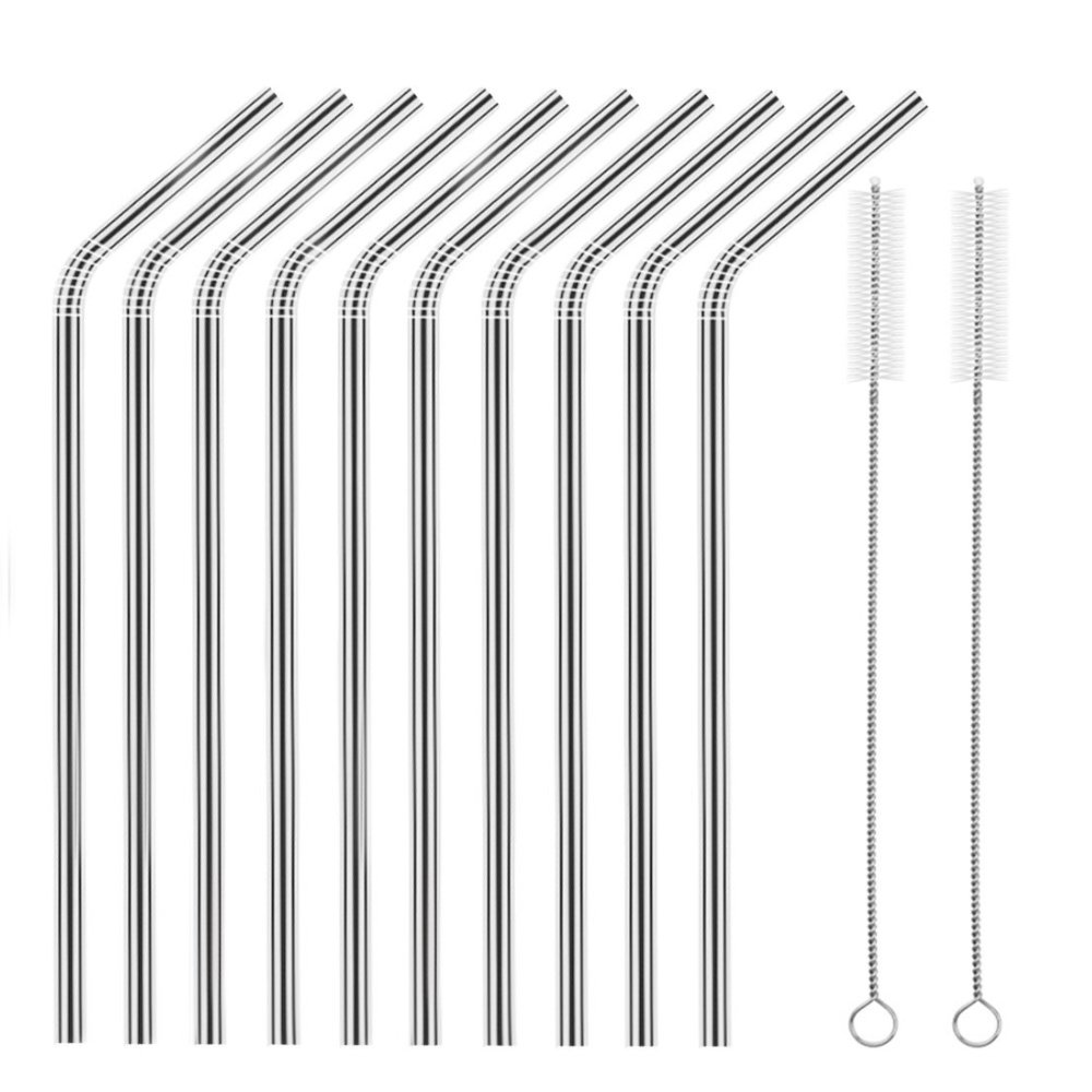 Set of 10 Stainless Steel Straws, HuaQi Bent Reusable Drinking Straws 10.5'' Long 0.24'' Dia for 30 oz Tumbler and 20 oz Tumbler, 2 Cleaning Brush Included (10 Bent Straws + 2 Brushes) by HuaQi