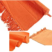 100% Cotton Hand-Woven Rug Mat for Indoor/Outdoor,Tassels Design Blanket for Chair, Couch, Picnic, Camping, Beach, Everyday Use Floor Mat Kitchen Area Rug (17x27, Orange)