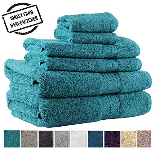 Premium 6 piece Towel Set- 2 Extra Large Bath Towels 2 Hand Towel 2 Washcloth Soft Cotton 600 GSM Highly Absorbent by Avira Home(Emerald) (Teal Towels Bathroom)