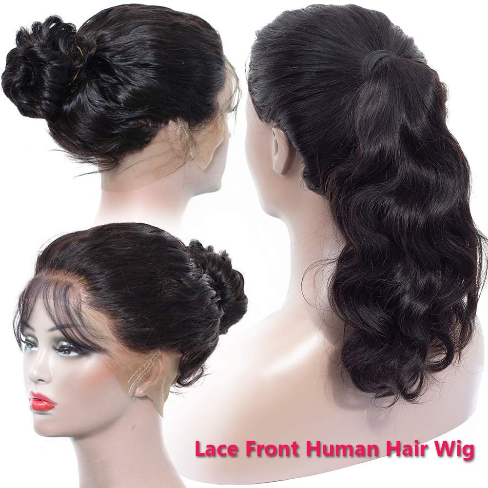 B07SDC353G Hermosa Lace Front Human Hair Wigs for Black Women 13x4 150% Density Brazilian Body Wave Human Hair Lace Front Wigs Pre Plucked with Baby Hair (24 Inch) 61nH5nZZBbL._SL1001_