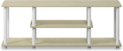 Furinno Turn-N-Tube 3-Tier Entertainment TV Stands, Cream Faux Marble Mustard