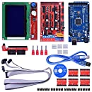 Quimat 3D Printer Controller Kit for Arduino Mega 2560 Uno R3 Starter Kits + RAMPS 1.4 with Upgraded Mosfet + 5pcs A4988 Stepper Motor Driver + LCD 12864 for Arduino Reprap