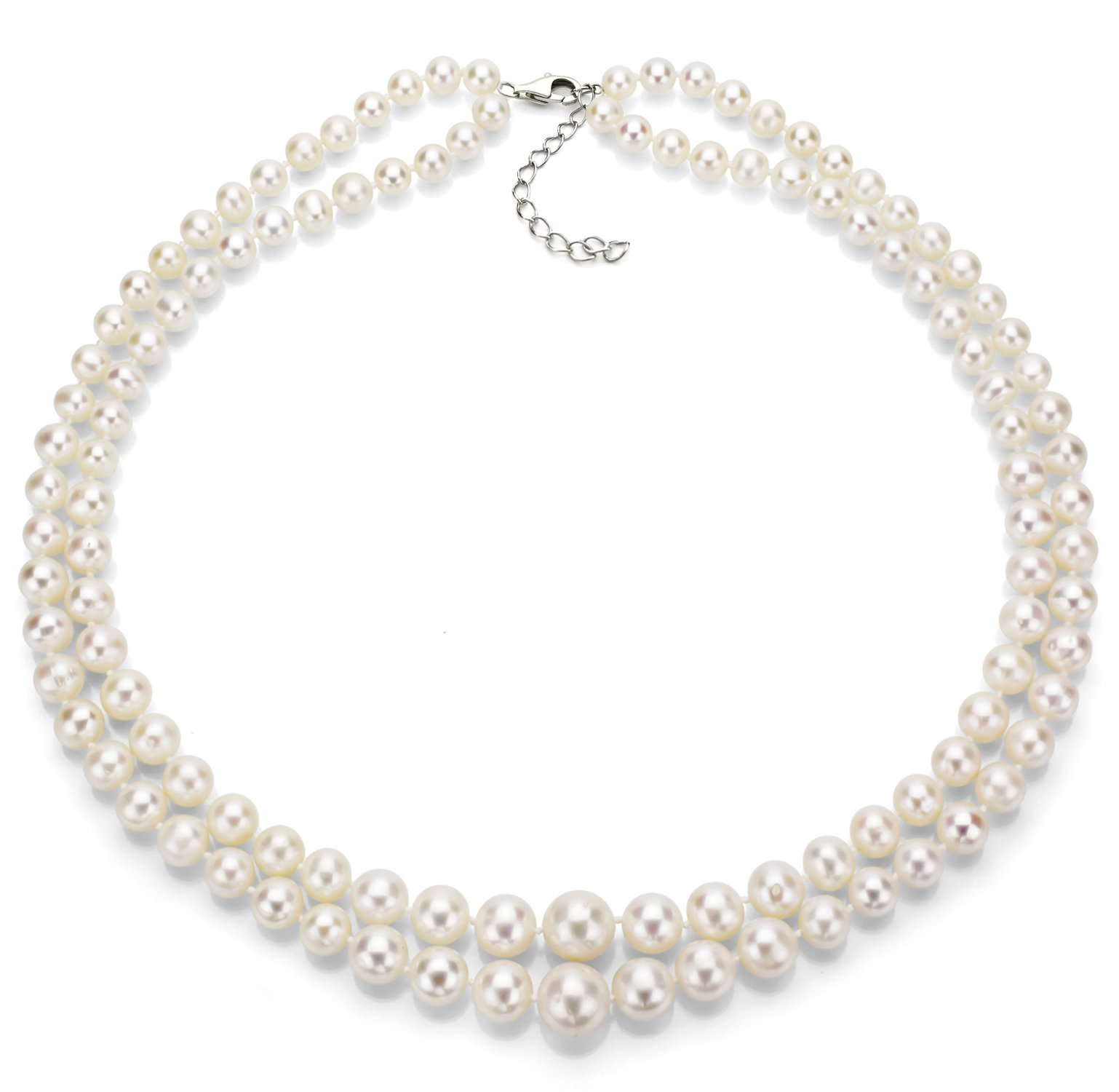 Sterling Silver Graduated 6-11mm 2-rows White Freshwater Cultured Pearl Necklace, 17'' + 1'' Extender