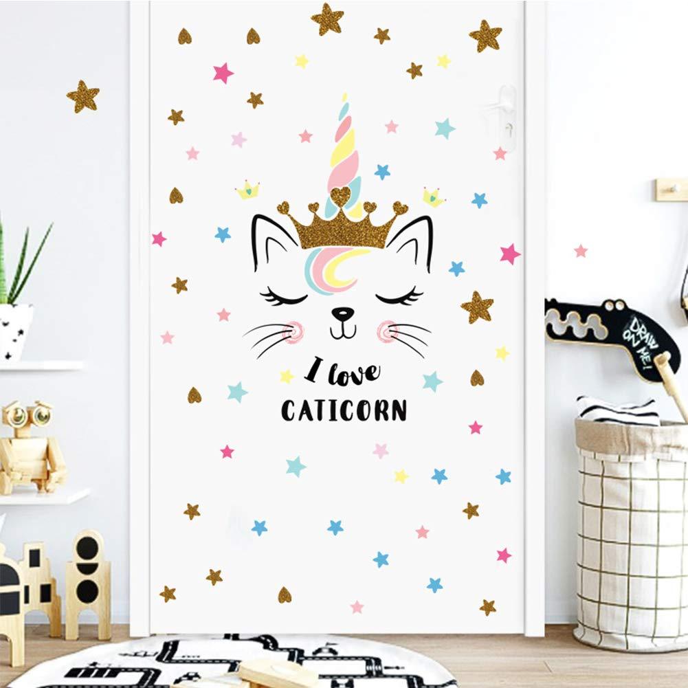 Unicorn Wall Sticker Bedroom Decal Kids Room Wall Decoration Vinyl Unicorn Wall Decal Nursery Mural Sticker Birthday Christmas Unicorn Gift for Girls Color