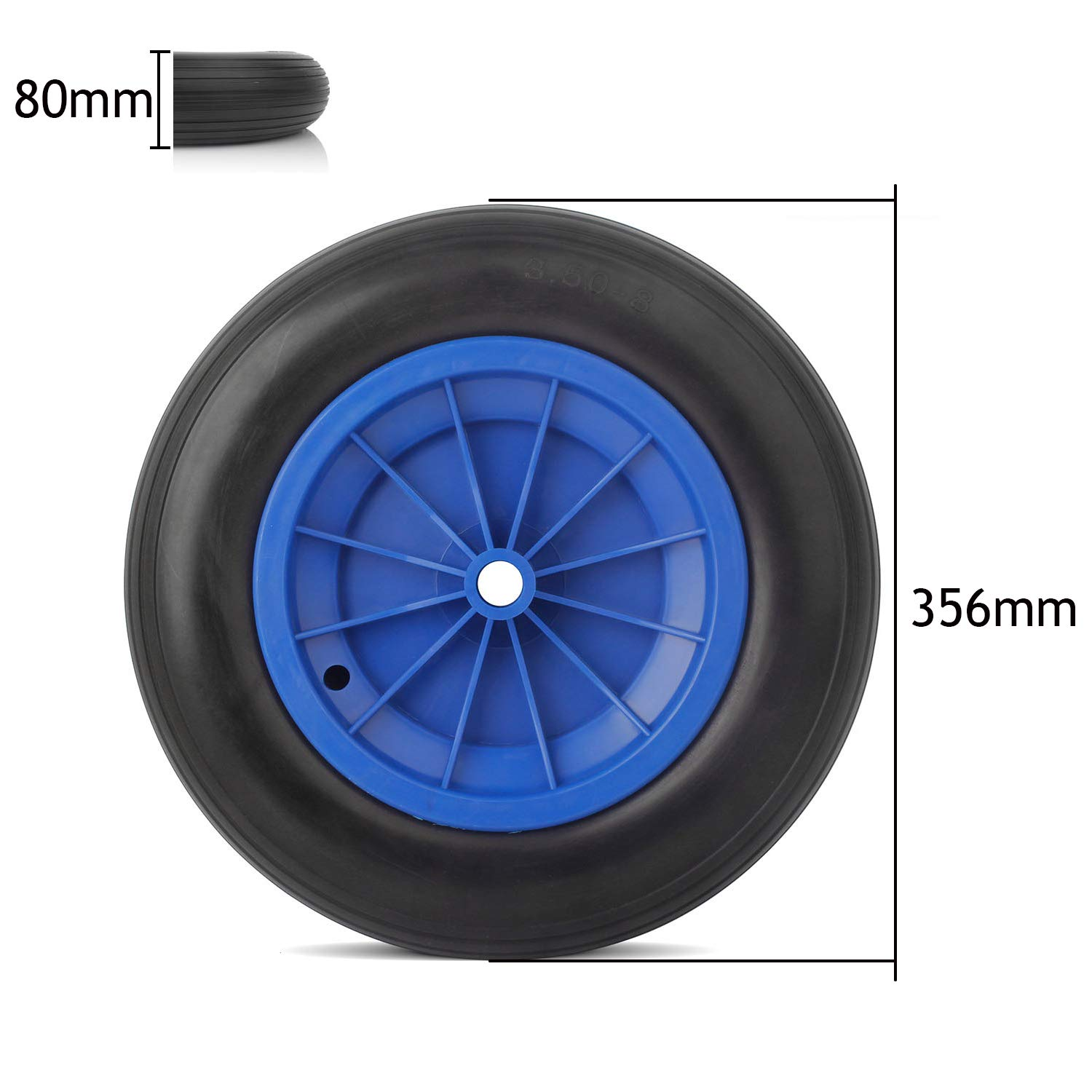 Miafamily Sack Truck Hand Trolley Cart Wheelbarrow Solid Rubber Wheel Tyre Tires PU Puncture Proof wheel 3.50-8// 356 X 80 mm Max Load 80 kg
