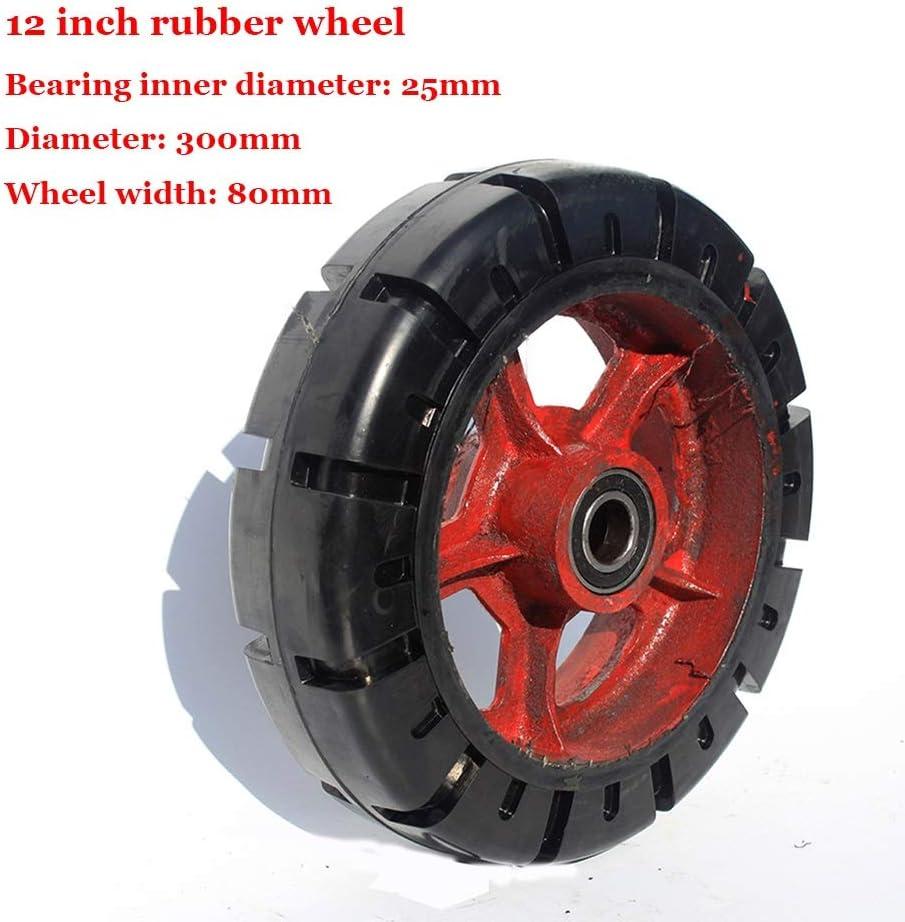 Rueda de 12 pulgadas Super Heavy Duty de goma, rueda única industrial, Caster Mute trolley, rueda completa de hierro fundido