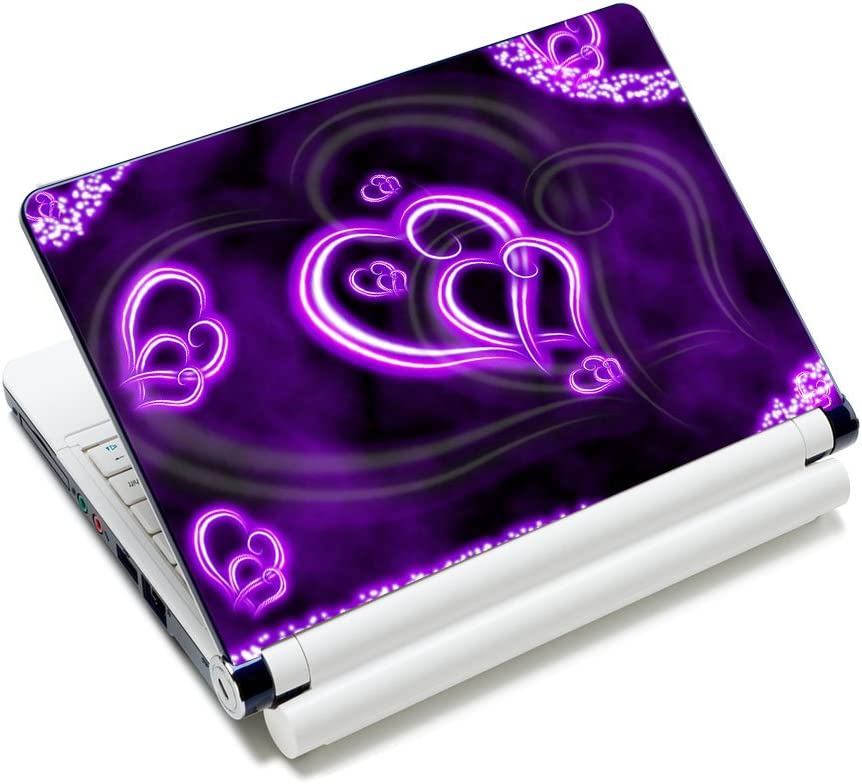 Purple Hearts Fashion 11.6 12.1 13 13.3 14 15 15.4 15.6 inches Netbook Laptop Skin Sticker Reusable Protector Cover Case for 11.6 -15.6 Inch Apple Acer Leonovo Sony Asus Toshiba Hp Samsung Dell