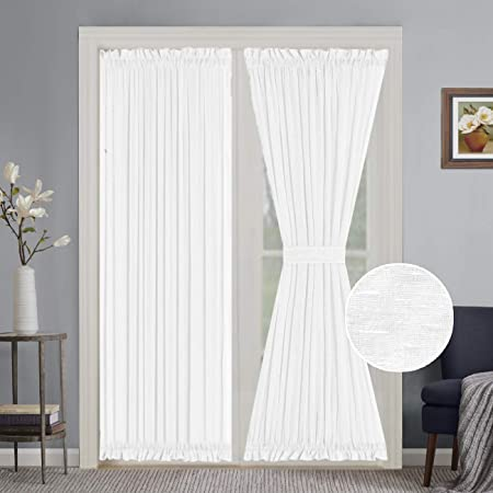 Turquoize Elegant Soft Linen French Door Curtains Light Filtering Curtain Panel, Rod Pocket Door Panels – 52W by 72L Inches – White – 2 Panels