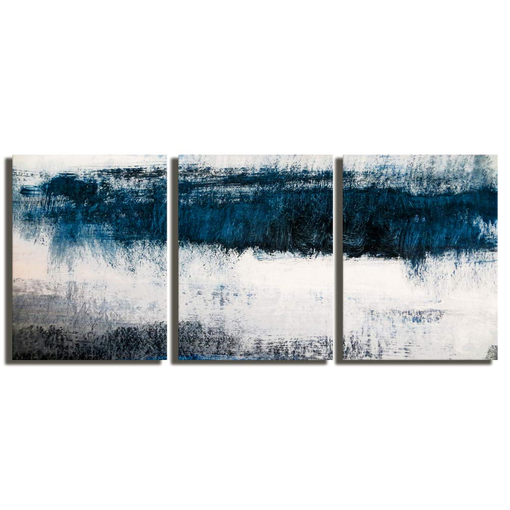 "Abstract Canvas Wall Art Prints Painting Navy Blue Tones Modern Creative Artwork 3 Panels/Set Framed Bathroom Pictures Ready to Hang for Living Room Bedroom Office Kitchen Decorations 12""x16""x3"
