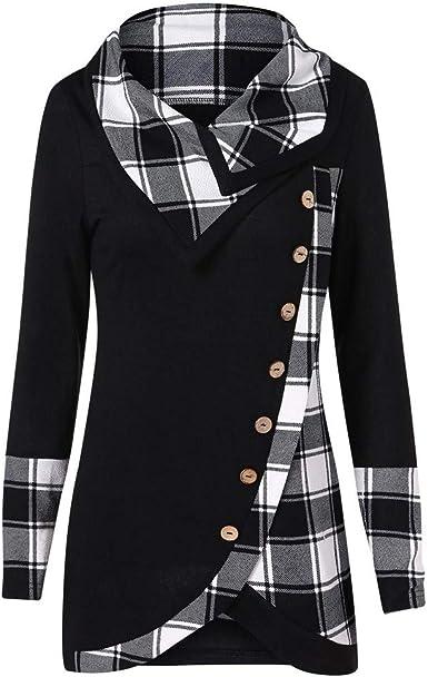 Pumsun Womens Pullover Tops Long Sleeve Plaid Print Turtleneck Tunic Sweatshirt Shirt