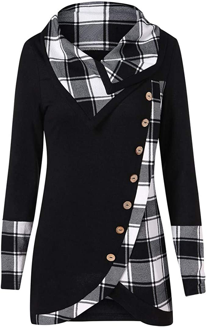 Womens Plaid Turtleneck Tunic Sweatshirt with Buttons Pullover Irregular Tops