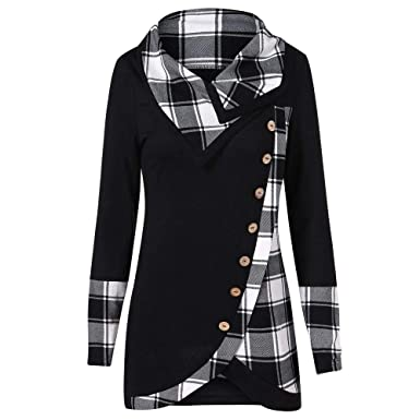 2dff22c77efce0 Women Tops Long Sleeve Plaid Button Turtleneck Tartan Tunic Sweatshirt  Ladies Jumpers Dressy Roll Neck: Amazon.co.uk: Clothing