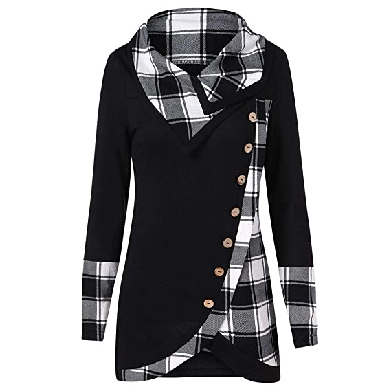 506063459 Amazon.com  Sttech1 Women Plaid Printed Long Sleeve Turtleneck Irregular  Tartan Tunic Sweatshirt Pullover Top S-2XL  Clothing