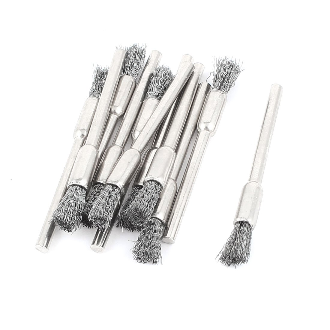 1/8 Inch Shank Gray Wire Pen Brush Polishing Buffing Tool 11 Pieces Sourcingmap a14110600ux0735