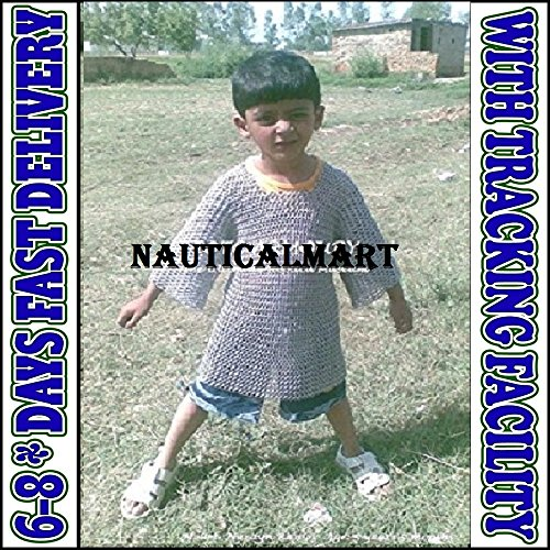 Unisex Chainmail - NAUTICALMART Medieval Chainmail Shirt 5-10 yrs Size Butted Chain Mail Haubergeon for Kids