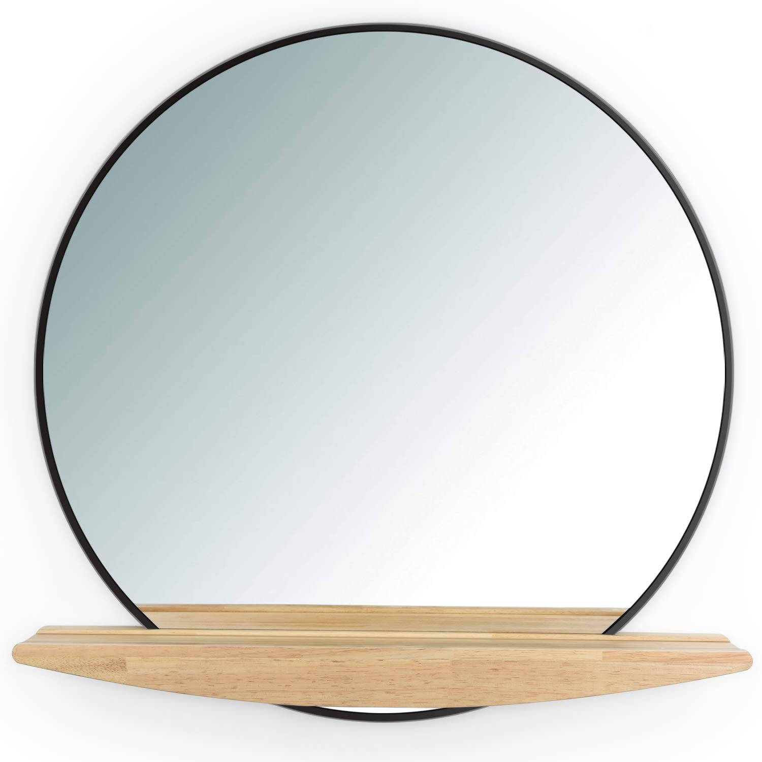 SRIWATANA Round Wall Mirror with Shelf, 23.6-Inch Bathroom Mirrors for Wall, Frameless Black Vanity Mirror for Entryway, Washroom and Bedroom