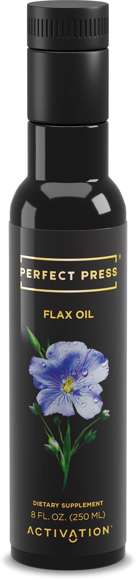 Activation Products, Perfect Press Flax Seed Oil - Great Tasting Cold Pressed Flaxseed Oil Supplement with Essential Omega 3 - 100% Vegan, Organic Flax Oil for Hair, Skin, Nails & Joints, 250ml