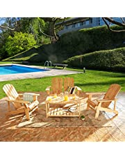 LOKATSE HOME Outdoor Wooden Adirondack Chairs Natural for Yard