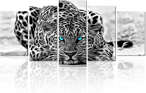 Black and White Animal Canvas Wall Art,Abstract Leopard Canvas Print