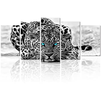 4f0b131ec6b0e Black and White Animal Canvas Wall Art,Abstract Leopard Canvas Prints with  Frame,Attractive Leopard Picture Decorative,Easy Hanging On,More Size ...