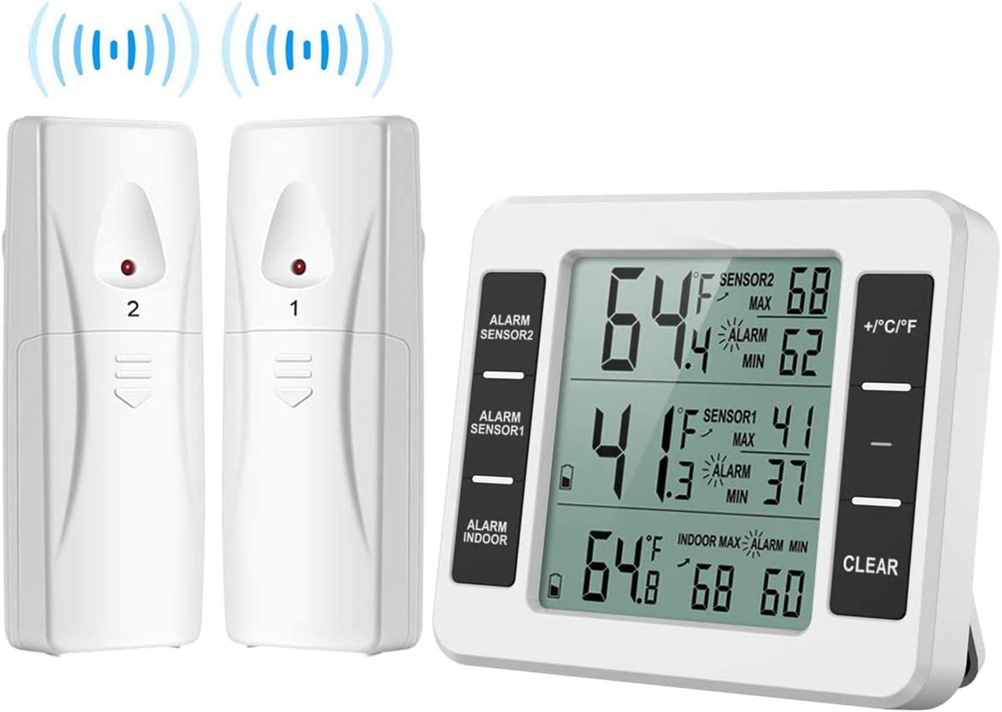 [Upgraded] Refrigerator Thermometer, Wireless Indoor Outdoor Digital Thermometer, Sensor Temperature Monitor with 3 Channels Min/Max Audible Alarm Temperature Gauge for Freezer Kitchen Home