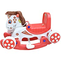 Bluday Horse 2 in 1 Horse Rocker 'n' Ride on White with Storage Box, Horse Rocker with Tractor Tyre for Kids , Horse Rocker for 1-4 Year ( Color May Vary )