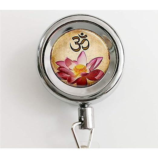 Llavero de yoga, llavero de Om, flor de loto rosa, llavero ...