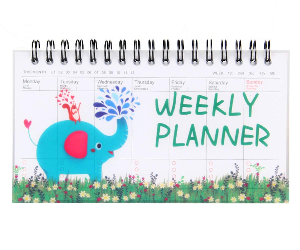CAOSAN Calendario Settimanale, Planner da Tavolo Settimanale per Giovani e Adulti Organizer per impegni in settimana (50 fogli 8,6cm*15,8cm) (Fenicottero) MEICHEN