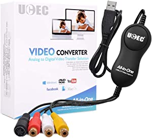 UCEC USB 2.0 Video Capture Card Device, VHS VCR TV to DVD Converter for Mac OS X PC Windows 7 8 10