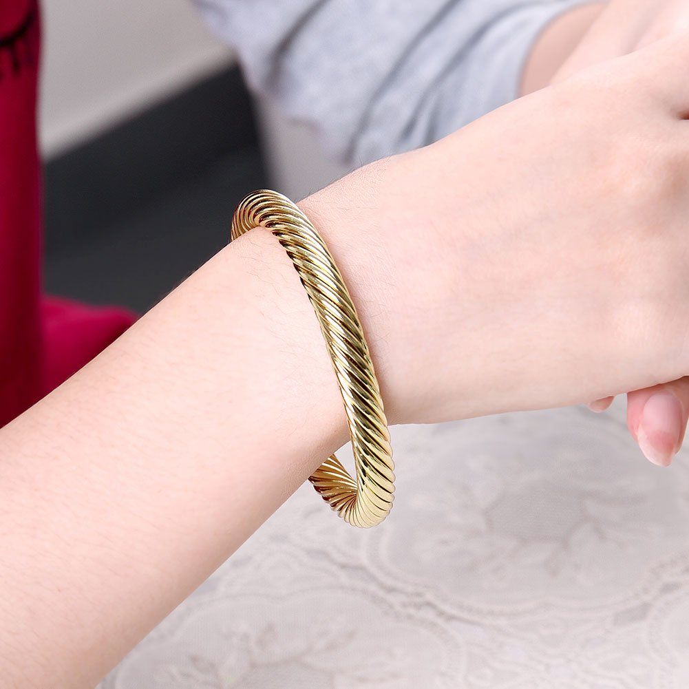 Zhiwen Simple Cuff Bracelet 18K Real Gold Platinum Plated Fine Bangle Bracelet Cable Wire Twisted Cuff Bangle Bracelets for Women Men by Zhiwen (Image #6)