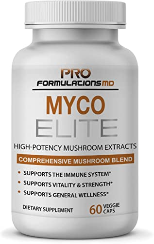 Myco Elite Comprehensive Mushroom Extract Blend 60 vcaps Superior Immune System Support – Enhanced with Reishi, Turkey Tail, Maitake Cordyceps