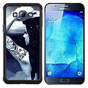 """Be-Star Único Patrón Plástico Duro Fundas Cover Cubre Hard Case Cover Para Samsung Galaxy A8 / SM-A800 ( Tinta del tatuaje desnuda Chica Luna luz de la noche del cielo Arte"""" )"""