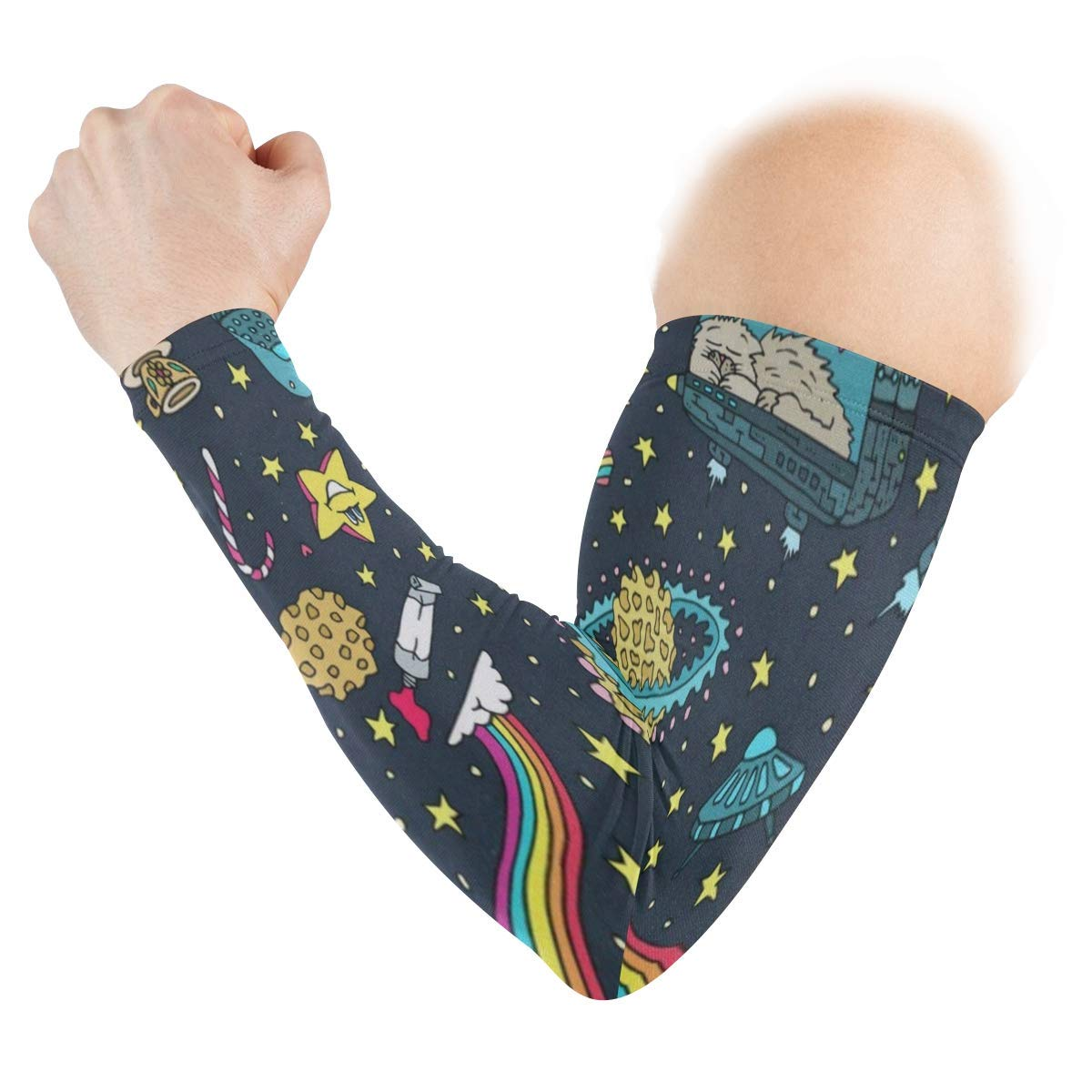 Arm Sleeves Cute American Astraurants Galaxy Space Mens Sun UV Protection Sleeves Arm Warmers Cool Long Set Covers White