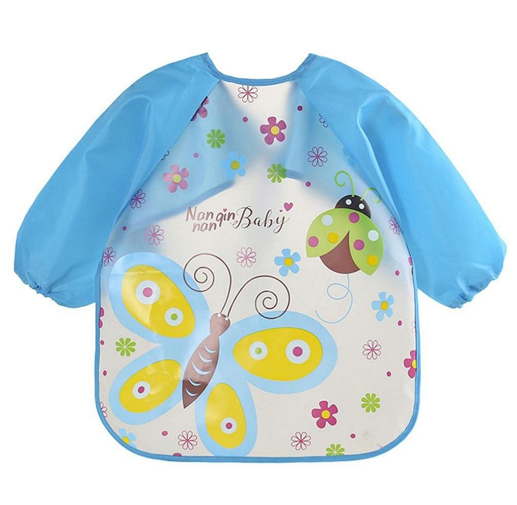 Singleluci Baby Bibs Burp Cloths Waterproof Cartoon Drawing Feeding Smock (F)