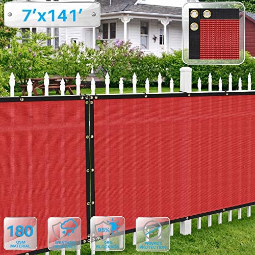 Patio Fence Privacy Screen 7 x 141 , Pergola Shade Cover Canopy Sun Block, Heavy Duty Fence Privacy Netting, Commercial Grade Privacy Fencing, 180 GSM, 90 Privacy Blockage Red