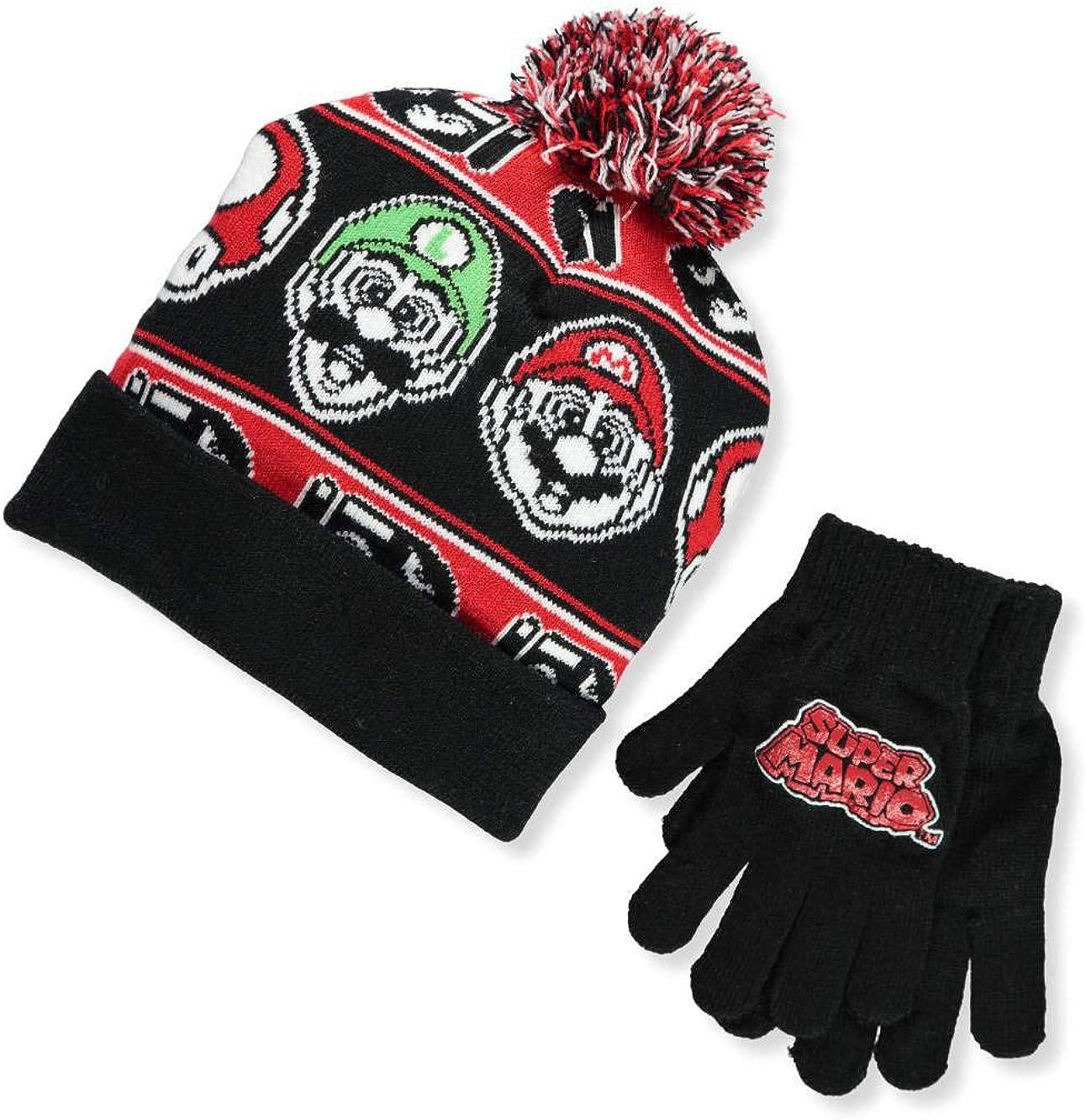 Nintendo Super Mario Boys Beanie Winter Hat and Glove Set [4015]