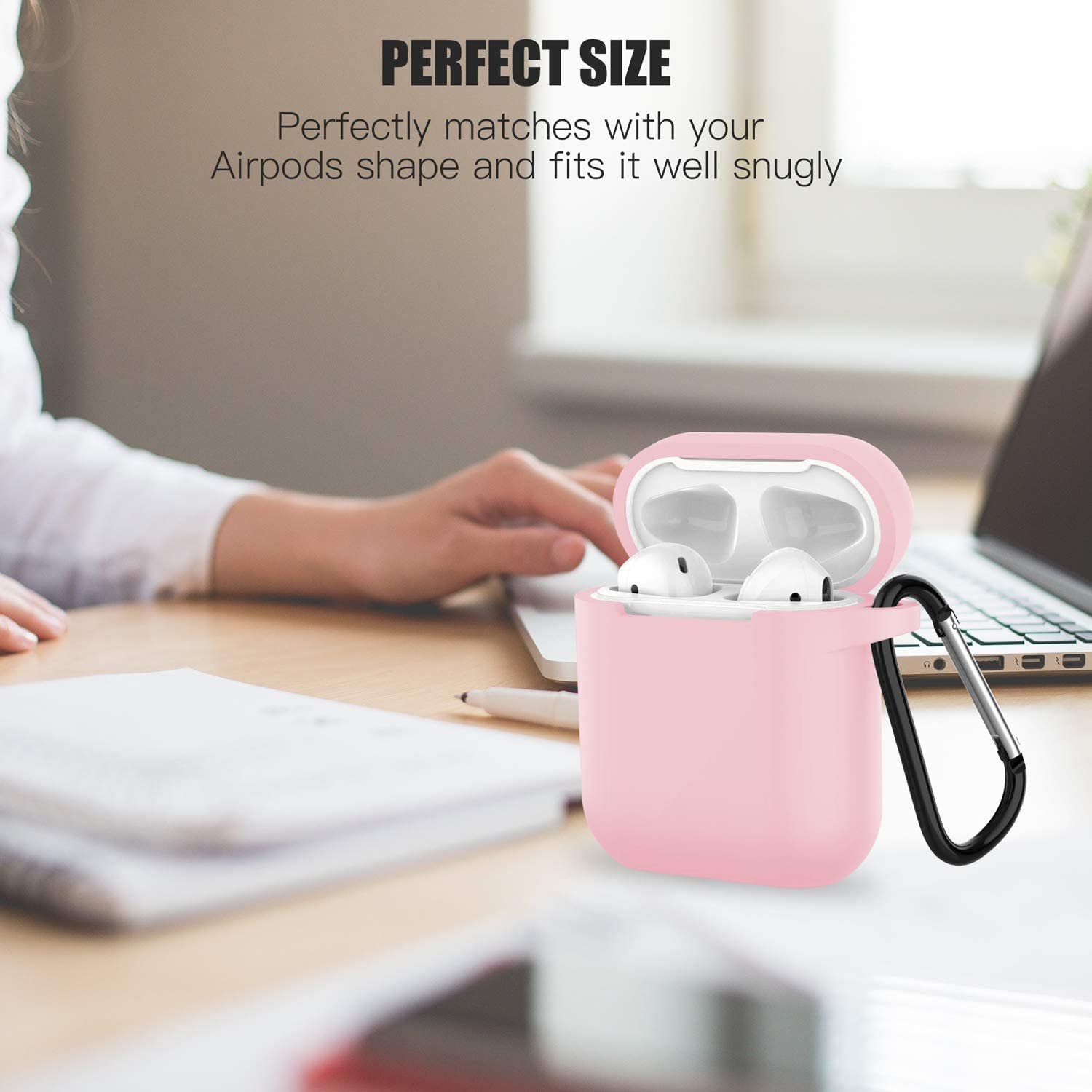 for Apple Airpods 2 Compatible with Airpods 1 HAndPE Silicone Case Full Protective Cover Pink Front LED Visible