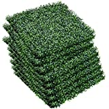 Giantex Artificial Privacy Fence Screen Boxwood Milan Leaf Grass Hedge Panels Mat Indoor Outdoor Topiary Decorative Fake Plant Wall 20″x20″ (12 Pcs) Boxwood Panels For Sale