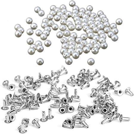 HEALLILY 100 Piezas Perlas Remache Perlas de Imitación Remaches Tachuelas Botones para Manualidades Jeans Bolsos Ropa Decoración (8 Mm): Amazon.es: Hogar