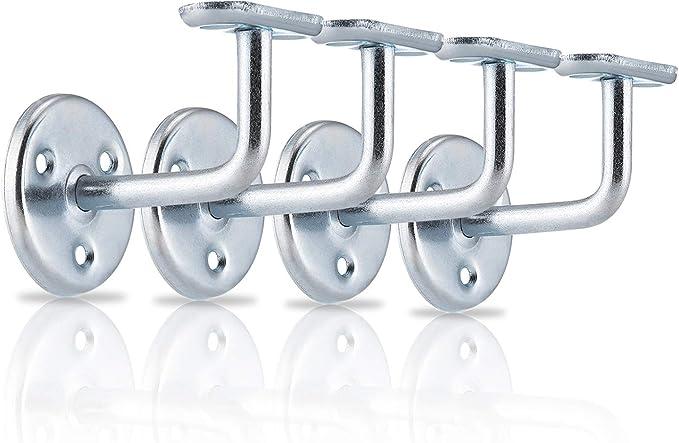 XFORT® Juego de 4 soportes de pasamanos de zinc, soportes de pasamanos de acero inoxidable para escaleras, soportes de pasamanos de madera y pasamanos de acero inoxidable con clase y estilo: Amazon.es: