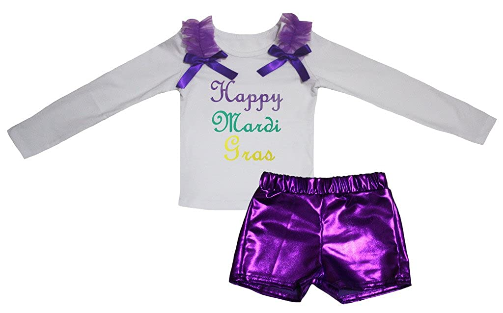Petitebella Happy Mardi Gras White L//s Cotton Shirt Purple Bling Short Set 1-8y