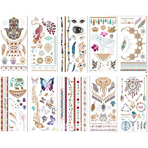 Brendacosmetic Pack of 10 Sheets Flash Metallic Temporary Tattoos Gold Sliver Shimmer Jewelry Tattoo Stickers with Butterfly,Bracelets for Body Painting Art (Last Minute Halloween Makeup Eyeliner)