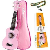 ADM Beginner Ukulele 21 Inch Soprano Kids Starter Pack Student Bundle Child Kit with Gig bag and Strap, Pink